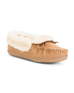 Folded Suede Trapper Moccasins