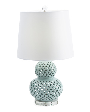 Pierced Ceramic Table Lamp With Crystal Base