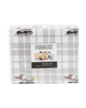 Snoopy Sleigh Grey Buffalo Sheet Set