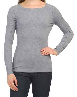 Raglan Sleeve Crew Neck Studded Sweater