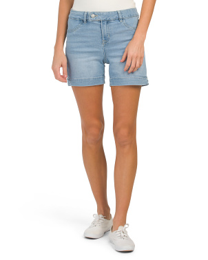 High Waist Extended Tab Denim Shorts
