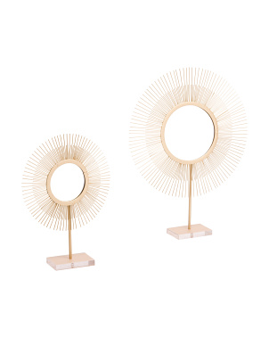 Set Of 2 Tabletop Sunburst Mirrors