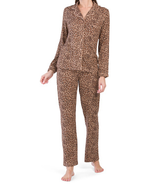 Leopard Peached Notch Neck Pajama Set