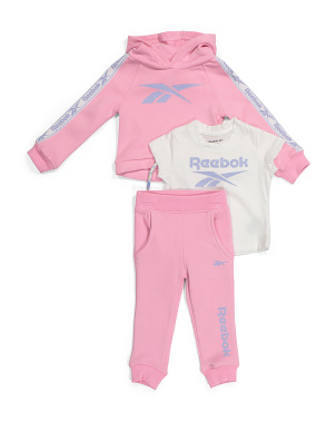 Infant Girls 3pc Raglan Hoodie Set