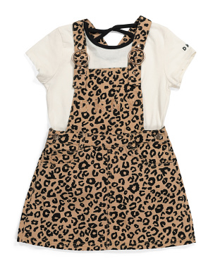 Big Girls Leopard Skirtall And Tee Set