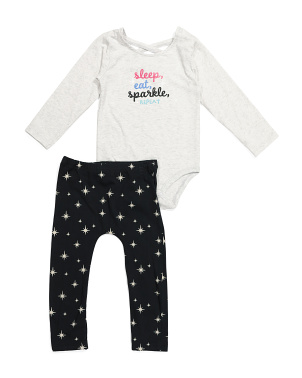 Newborn & Infant Girls Sparkle Bodysuit And Leggings Set