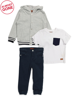 Toddler Boys 3pc Hooded Jacket And Stretch Twill Jogger Set
