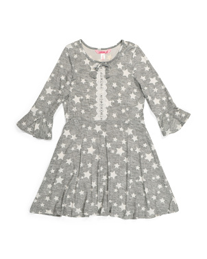 Big Girls Bell Sleeve Star Dress