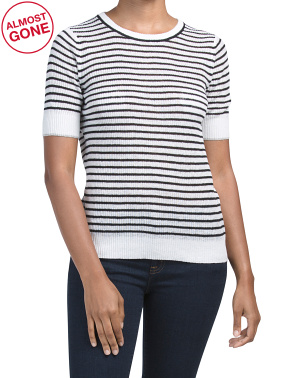 Striped Ribbed Crew Neck Linen Top
