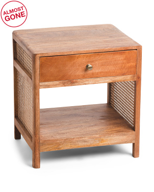 1 Drawer End Table With Cane Detail