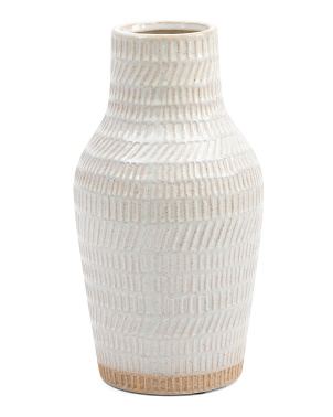 12in Ceramic Tribal Look Vase