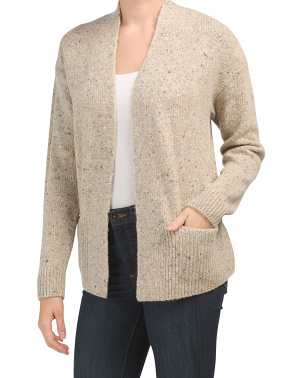 Wool Blend Rib Trim Cardigan