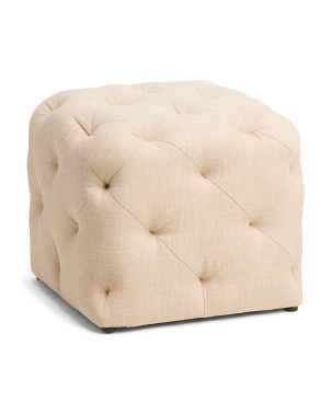 Angel Square Tufted Linen Ottoman