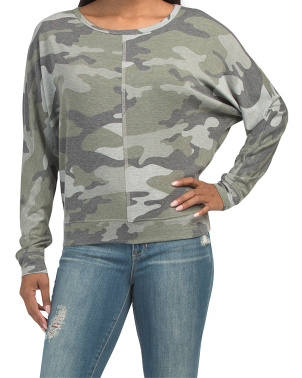 Camo French Terry Dolman Top