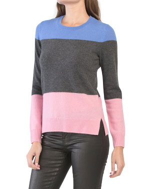 Cashmere Color Block Crew Neck Sweater