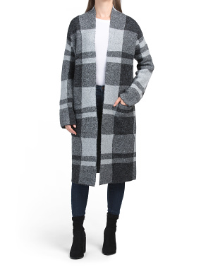 Buffalo Plaid Long Open Front Coatigan