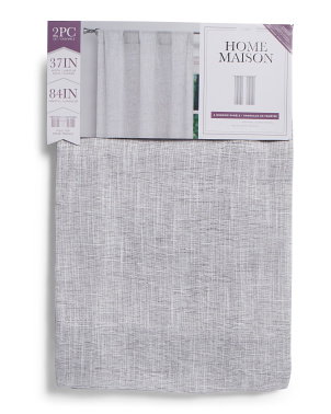 37x84 Set Of 2  Ciara Linen Look Metallic Curtains