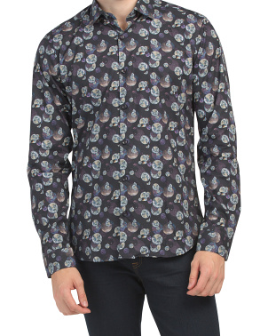 Trim Fit Moon Print Shirt
