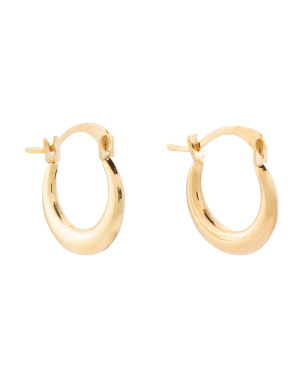 14k Gold 10mm X 12mm Hoop Earrings