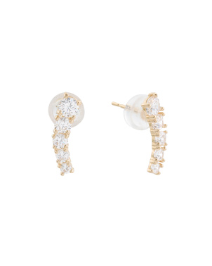 14k Gold Cz Ear Crawlers