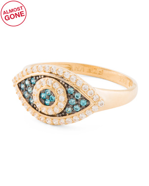 Made In Usa 14k Gold And Cz Evil Eye Ring