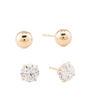 Made In Usa 14k Gold 6mm Ball Stud And Cz Stud  Earring Set