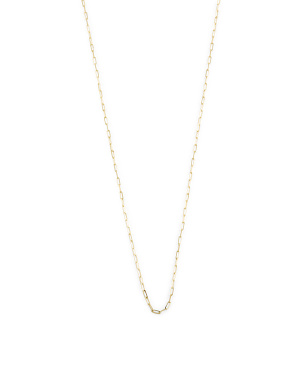 14k Gold Paper Clip Link Necklace