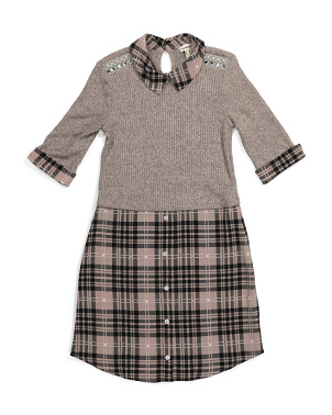 Big Girls Hacci Plaid Woven Dress
