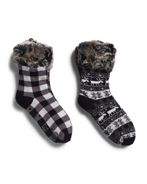 2pk Fur Cuff Cozy Cabin Socks