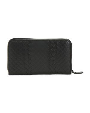 Made In Italy Woven Leather Zip Around Wallet