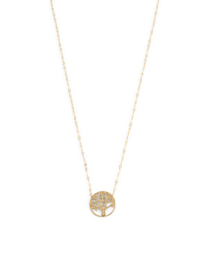 Made In Italy 14k Gold Cz Tree Of Life Necklace