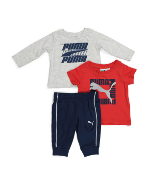 Newborn Boys 3pc Jersey Tops And Tricot Pant Set