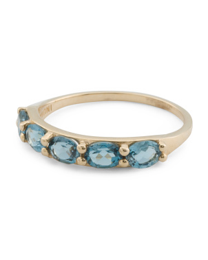 Made In India 14k Gold London Blue Topaz Band Ring