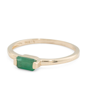 Made In India 14k Gold Sakota Emerald Stacking Ring