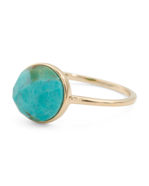 Made In India 14k Gold Turquoise Cabachon Ring