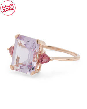 Made In India 14k Rose Gold Amethyst Pink Tourmaline Ring