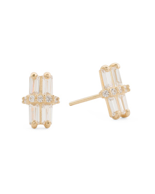 Made In Usa 14k Gold Baguette Cz Stud Earrings