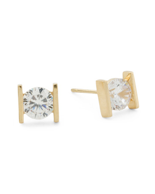 Made In Usa 14k Gold Bar Set 5mm Cz Stud Earrings