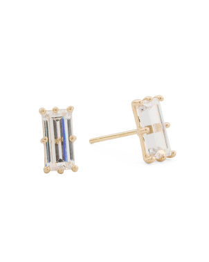 Made In Usa 14k Gold Single Baguette Cz Stud Earrings