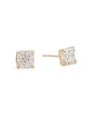 Made In Usa 14k Yellow Gold 4mm Radiant Cut Cz Stud Earrings