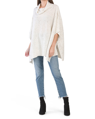 Juniors Speckle Cowl Neck Poncho