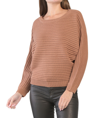 Juniors Ribbed Dolman Sleeve Sweater