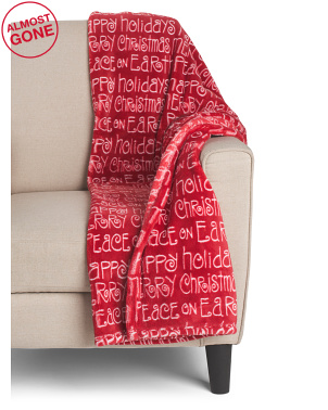 Clark Christmas Words Printed Loft Fleece Throw