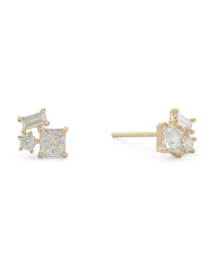 Made In Usa 14k Gold Baguette Cluster Cz Stud Earrings