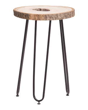 Sliced Wood Accent Table