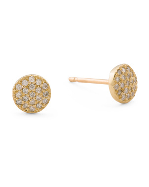 Handmade In Israel 14k Gold And Diamond Pave Stud Earrings