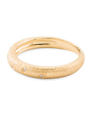Handmade In Israel 14k Matte Gold Diamond  Band Ring
