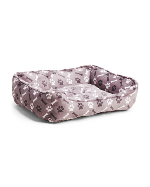 Medium Paw & Cross Bone Fleece Cuddler Pet Bed