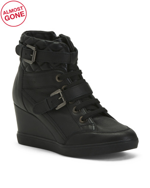 Comfort Wedge Leather Sneakers