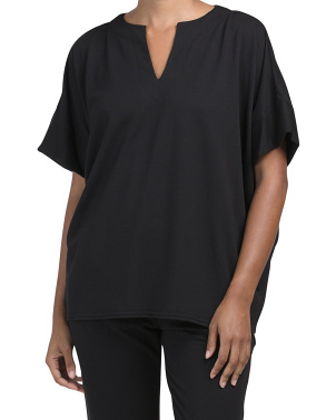 Everywhere French Terry Split Neck Lounge Top